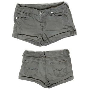 7 For All Mankind Gray Button Fly distressed short